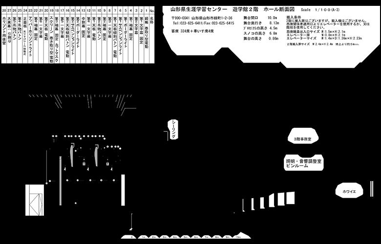 遊学館ホール断面図